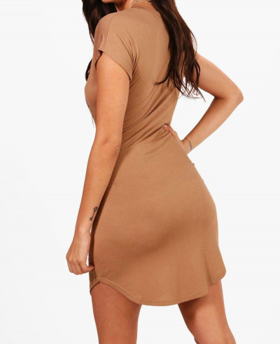 Hot Selling Custom Longline Taylor Curved Hem T Shirt Dress