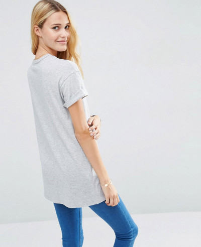 Hot Selling Fashion Longline Grey T Shirt