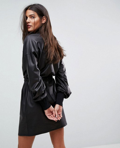 Hot-Selling-Faux-Leather-Track-Dress