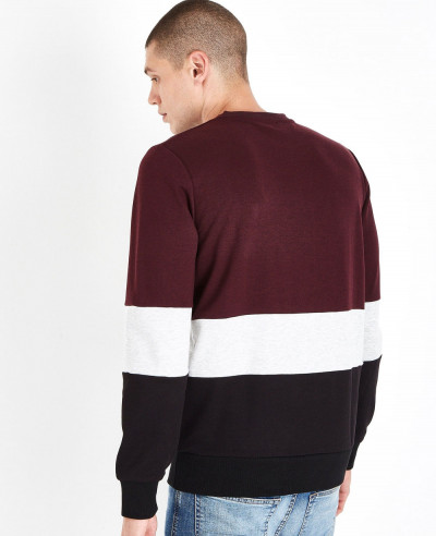 Hot-Selling-Men-Burgundy-Colour-Block-Sweatshirt