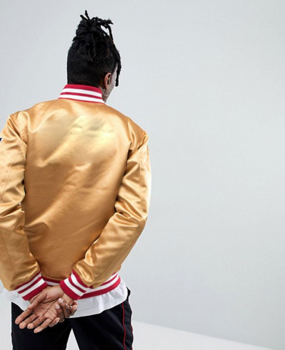 Hot Selling Men Custom Bomber Jacket In Gold