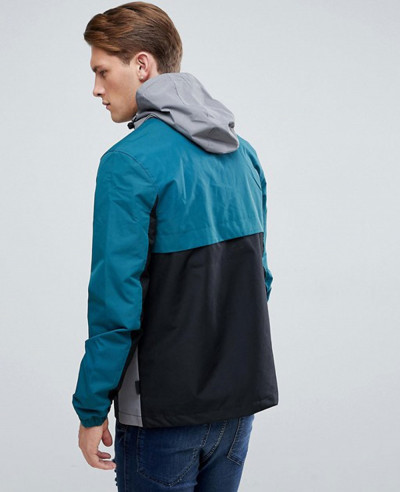 Hot Selling Men Custom Colour Block Overhead Windbreaker Jacket