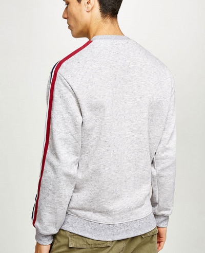 Hot Selling Men Custom Grey Taping Sweatshirt