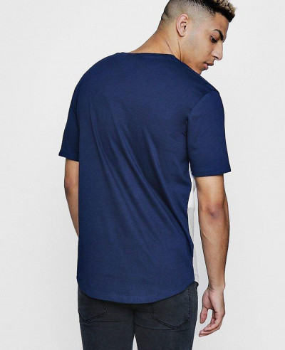 Hot Selling Men Fashion Sport Colour Block With Curved Hem T Shirt