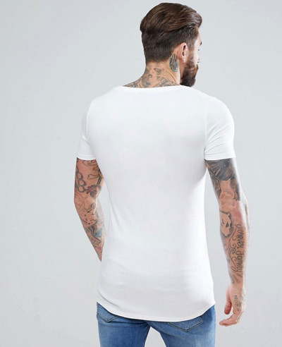 Hot Selling Men Fashion Sports Muscle Fit With Deep Scoop And Curved Hem T Shirt