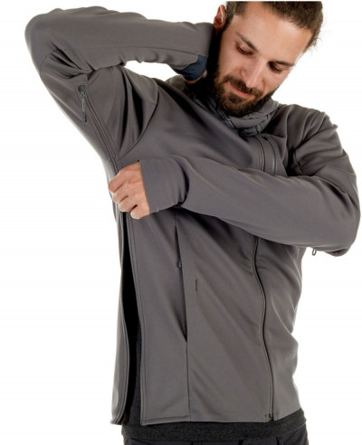 Hot Selling Men Grey Hooded Softshell Jacket