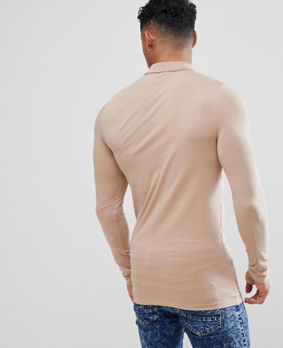 Hot Selling New Design Longline Muscle Fit Long Sleeve Polo Shirt