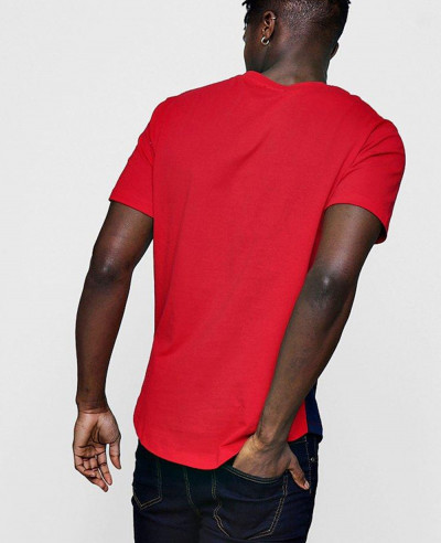 Hot Selling Sports Colour Block With Curved Hem T Shirt