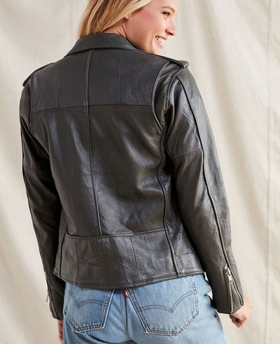 Hot Selling Women Style Leather Moto Biker Jacket