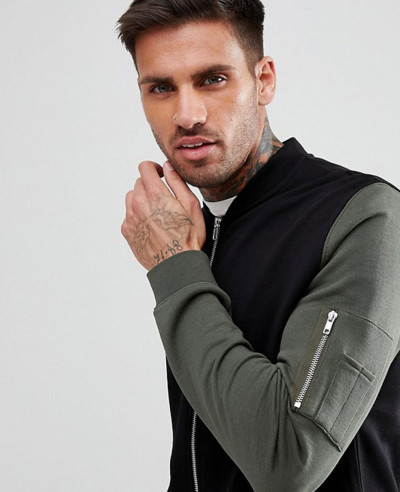 Jersey Bomber Jacket With Contrast Sleeves And Pocket In Black