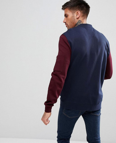 Jersey-Bomber-Jacket-With-Contrast-Sleeves-And-Pocket-In-Navy