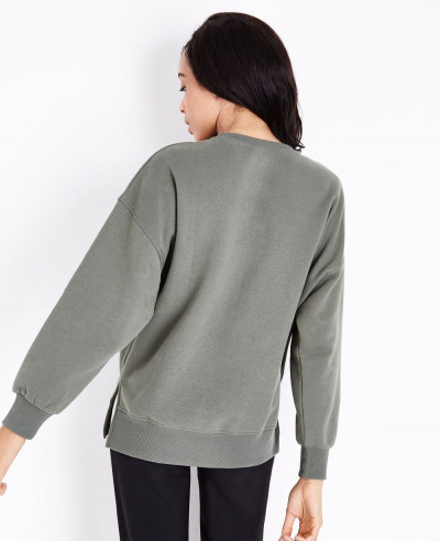 Khaki-Slouchy-Split-Side-Sweatshirt