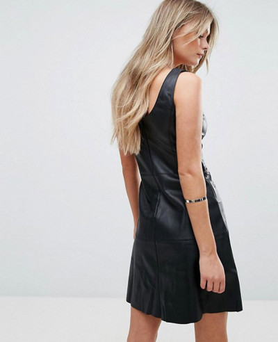 Leather Look Eyelet Detail Dress