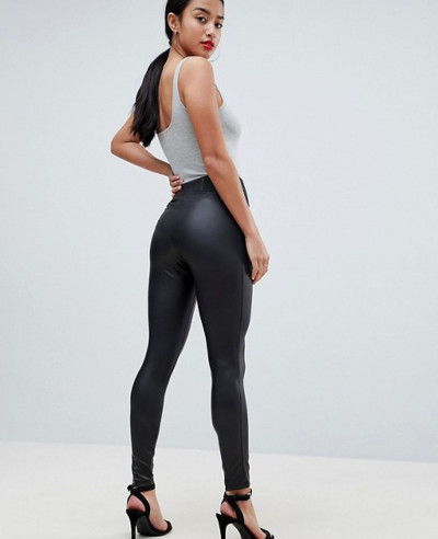 Leather Look Leggings With Elastic Slim Fitting Waist