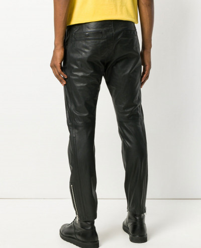Leather Motorcycle Pants Black Slacks For Men