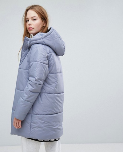 Long Padded Jacket With Branded Waistband