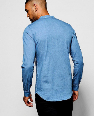 Long Sleeve Denim Chambray Western Shirt