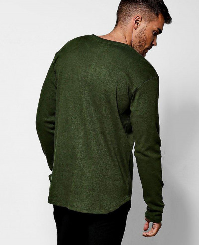 Long Sleeve Green Stylish Ribbed Curved Hem Sport T Shirt