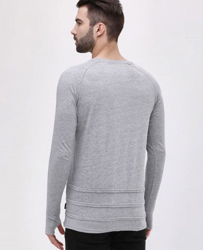 Long Sleeve Men Thumbhole With Frayed Detail T Shirt