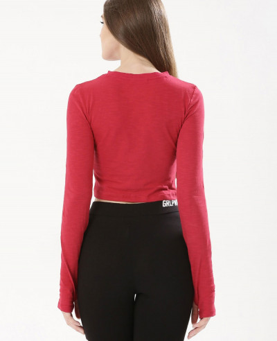 Long Sleeve Red Jersey Crop Top
