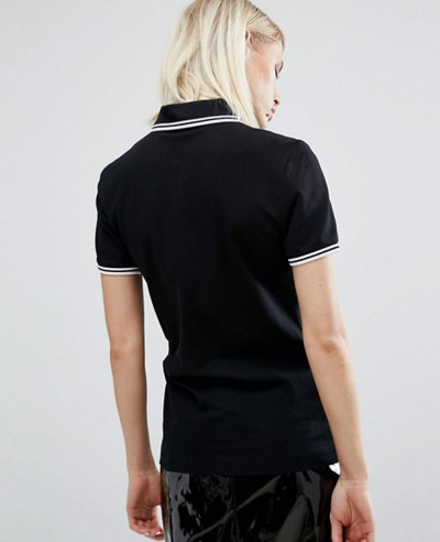 Longline Fashion Twin Tipped Black Polo Shirt