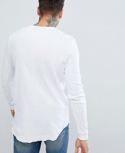 Longline-Long-Sleeve-Waffle-With-Curved-Hem-In-White-T-Shirt