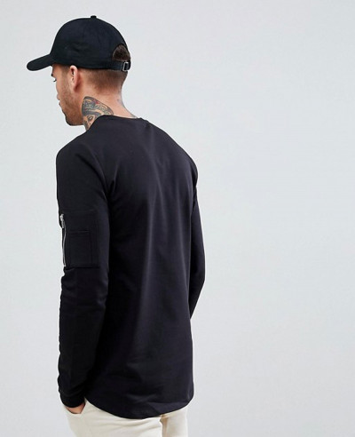 Longline Muscle With Pocket And Curved Hem Sweatshirt