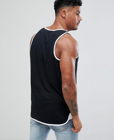 Longline Skater Vest With Contrast Bound Hem In Black