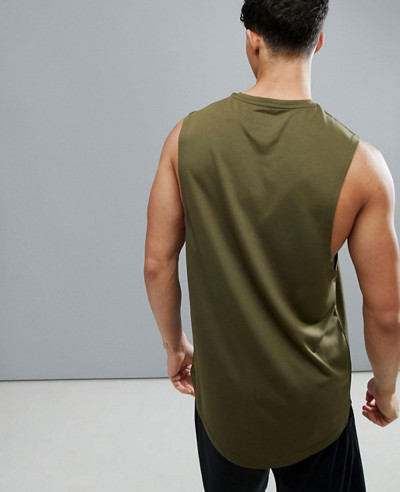 Longline Sleeveless Custom With Quick Dry In Khaki Tank Top