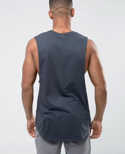 Longline Vest With Dropped Armhole and Curve Hem In Grey