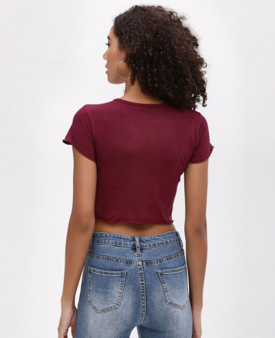 Maroon Crew Neck Crop Top