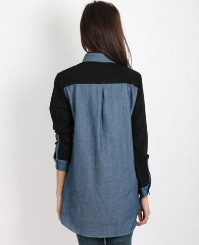Medium-Blue-Overdyed-Black-Sleeves-&-Yoke-Denim-Shirt