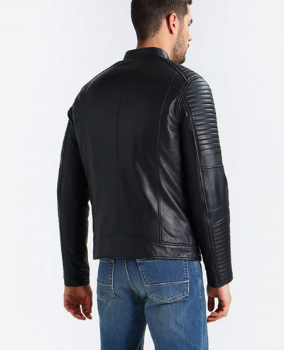 Men Are Padded Panels With Sheep Leather Jacket