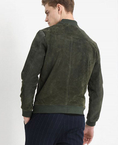 Men Biker Bomber Green Suede Leather Jacket