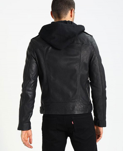 Men Biker Leather Jacket with Hood