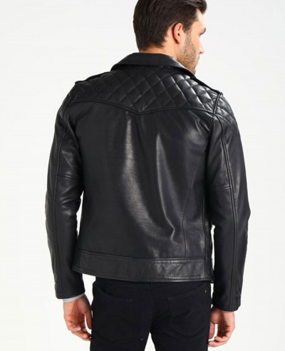 Men Biker Sheep Leather Jacket
