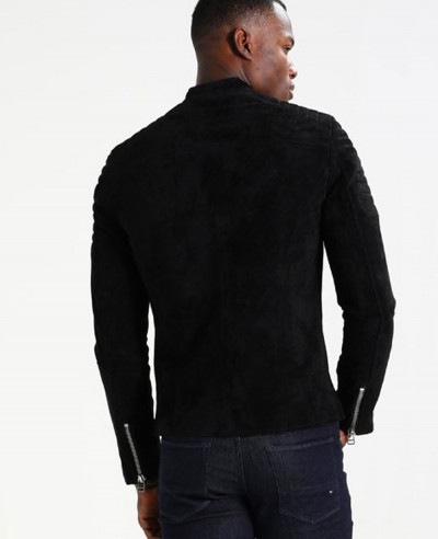 Men Biker Suede Black Leather Jacket