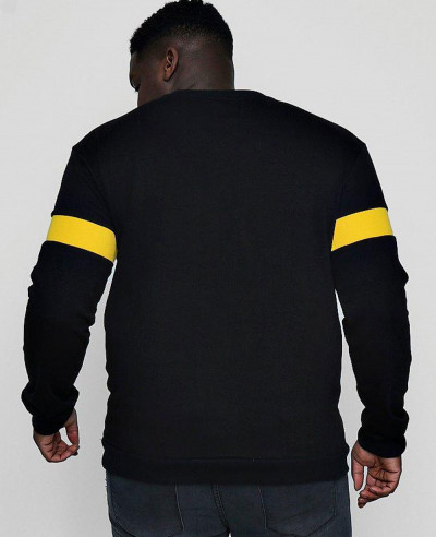 Men-Black-Big-And-Tall-Sweater-With-Rib-Insert-Sweatshirt