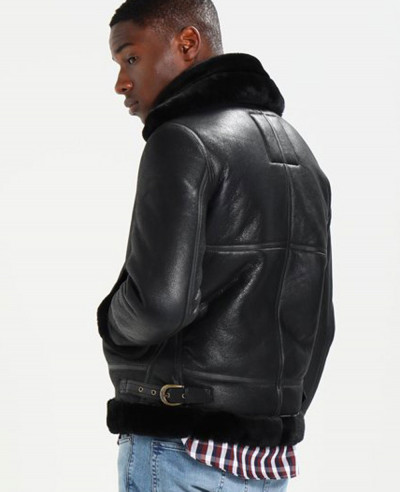 Men Black Fur Sheep Real Leather Jacket