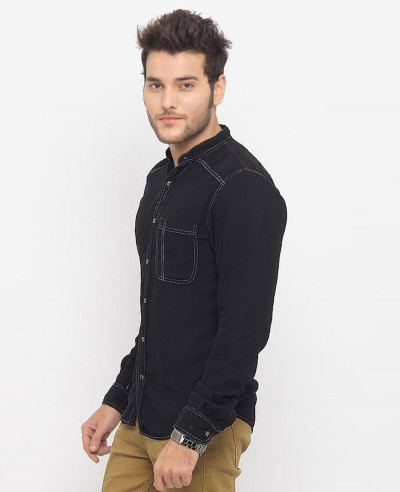 Men Black Super Soft Tencel Denim Shirt with Brass Buttons