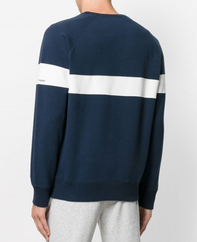 Men Blue Custom Chest Stripes Sweatshirt