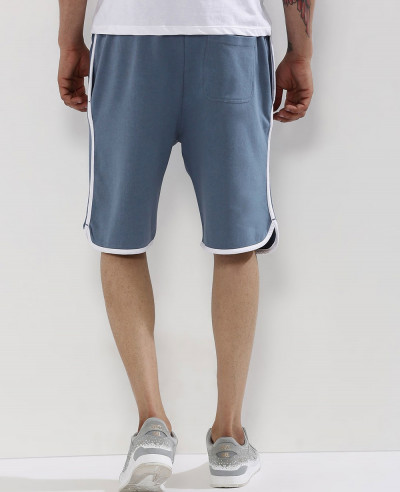 Men Blue Custom Fleece Baseball Shorts