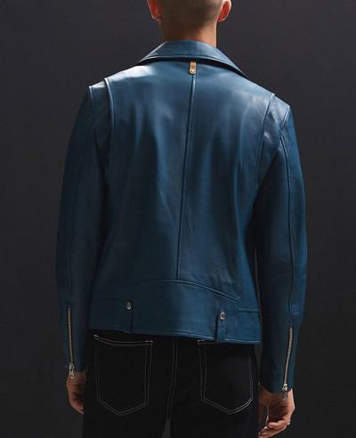 Men Blue High Class Biker Real Leather Moto Jacket