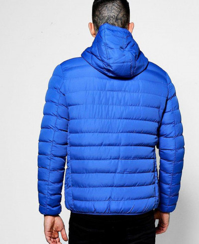 Men Blue Puffer Jacket With Hood