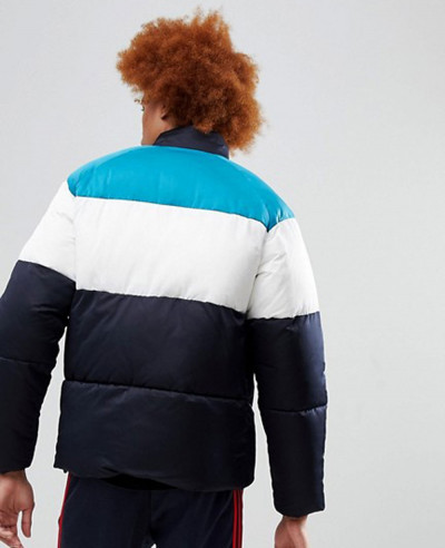 Men Custom Puffer Jacket In Colour Block