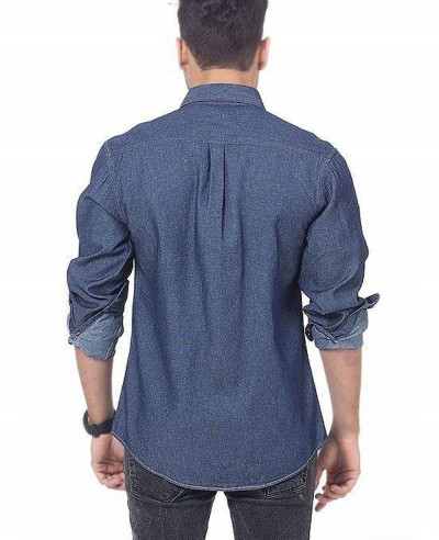Men Dark Blue Denim Shirt with Snap Buttons