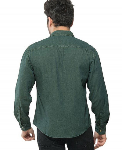 Men Dark Green Denim Brass Button Down Overshirt