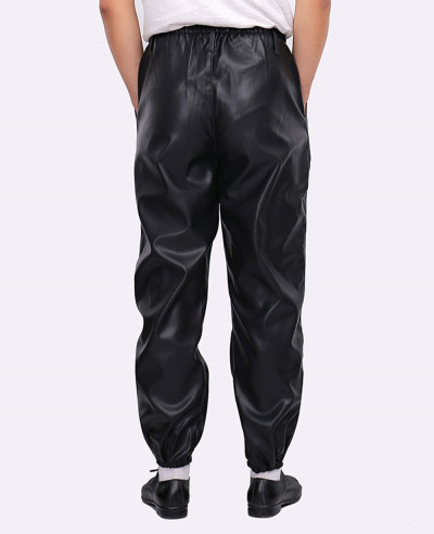 Men Fashion Zipper Faux Leather Long Jogger Pants
