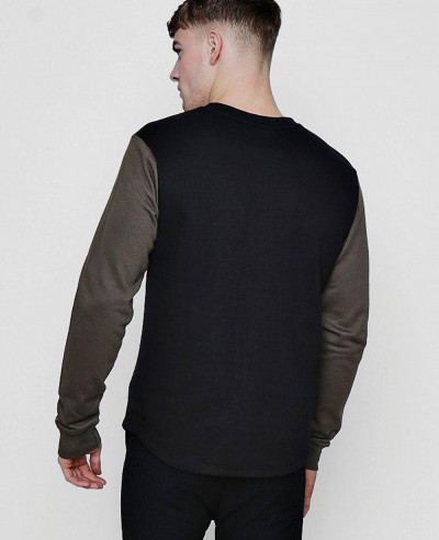 Men Fashionable Stylish Contrast Sleeve Sweater Sweatshirt