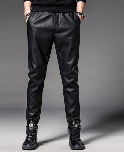 Men Faux Leather Pants Nightclub Skinny Pencil